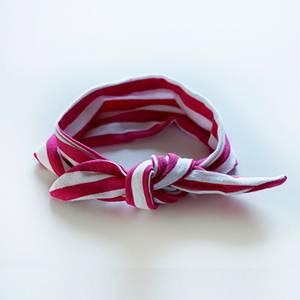 Bilde av Hårbånd med knute Hvit/Rosa Stripete
